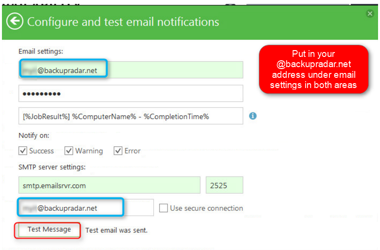 How to configure Veeam Endpoint for Backup Radar SMTP relay – Backup